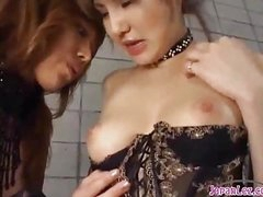 2 Hot Asian Girls Nearby Sexy Lingerie Sucking Each Other Nipples Patting On The Mattress Nearby The Basement